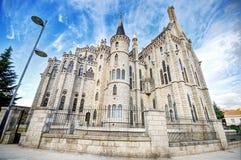 Famous landmark Astorga Epsiscopal Palace, in Astorga, Leon, Spain. Royalty Free Stock Image
