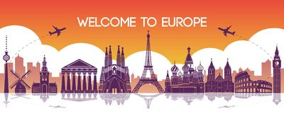 famous landmark of Europe,travel destination,silhouette design,purple and orange gradient color stock illustration