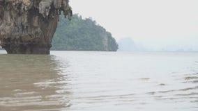 Famous landmark and famous travel destination - James Bond island in the Phang Nga Bay, Thailand. Famous landmark and famous travel destination - James Bond stock footage