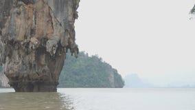 Famous landmark and famous travel destination - James Bond island in the Phang Nga Bay, Thailand. Famous landmark and famous travel destination - James Bond stock video footage