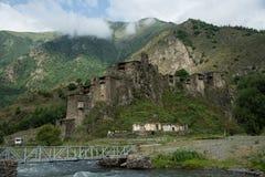 Famous landmark of Hevsureti in Georgia - ruins of medieval vill Stock Photos