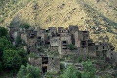 Famous landmark of Hevsureti in Georgia - ruins of medieval vill Stock Images