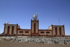 The famous landmark La Entallada lighthouse, Fuerteventura Royalty Free Stock Images