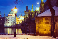 Famous Landmark, Lantern and Charles Bridge, Prague, Czech Republic Stock Image