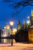 Famous Landmark, Lantern and Charles Bridge, Prague, Czech Republic Royalty Free Stock Image