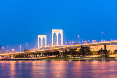 The famous landmark of Macau with the illumination shows Stock Photo