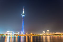 The famous landmark of Macau with the illumination shows Stock Images