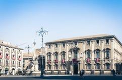 Famous landmark on main square Piazza del Duomo in Catania, Sicily, Italy, monument The Elephant`s fountain Fontana dell`Elefan royalty free stock photography