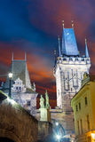 Famous Landmark - Medieval Towers, Sculpture and Lantern Royalty Free Stock Photography