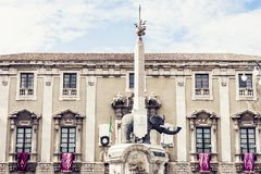 Famous landmark, monument The Elephant`s fountain Fontana dell`Elefante on main square Piazza del Duomo, Catania, Sicily, Ital. Y royalty free stock photos