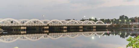 A famous landmark Napier Bridge in Chennai, India, constructed over the Coovum River stock photos