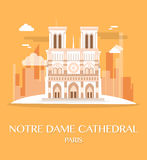 Famous landmark Notre Dame Cathedral France. Stock Photo