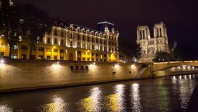 Notre Dame de Paris church cathedral daylight tilt and pan video stock video footage