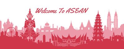 Free Famous Landmark Of ASEAN,travel Destination With Silhouette Classic Design Royalty Free Stock Image - 152095576