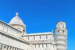 Famous landmark Pisa Tower view from miracle square. Pisa, Italy. Royalty Free Stock Photo