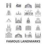 Famous landmark, sights, world place, world travel, tourism, vacation line icons. Editable strokes. Flat design vector royalty free illustration