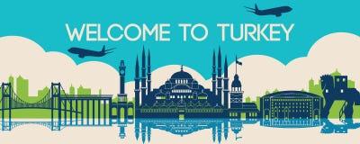 Famous landmark of Turkey,travel destination,silhouette design. Plane fly over classic and luxury famous landmark of Turkey,travel destination,silhouette design stock illustration