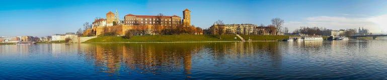 Famous landmark Wawel castle seen from Vistula Stock Photos