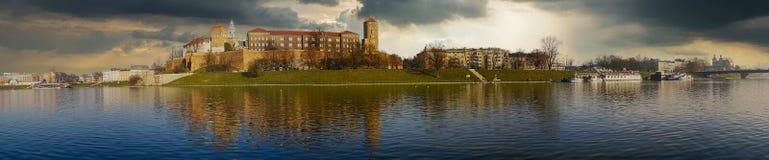 Famous landmark Wawel castle seen from Vistula Stock Images