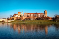 Famous landmark Wawel castle seen from Vistula Royalty Free Stock Photos