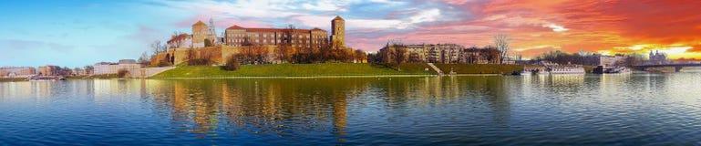 Famous landmark Wawel castle seen from Vistula Royalty Free Stock Image