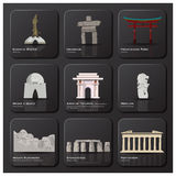 Famous Landmark Of The World Icon Set Stock Image
