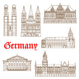 Famous landmarks of german architecture icon Stock Images