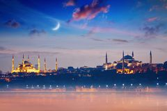 Famous landmarks Hagia Sophia and Blue Mosque in Istanbul, Turke Royalty Free Stock Photography