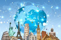 Famous landmarks of the world connected to each other Royalty Free Stock Image