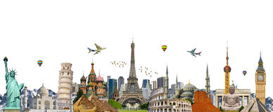 Famous landmarks of the world. Grouped together Royalty Free Stock Photography