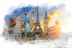Famous landmarks of the world grouped together. Famous landmarks of the world with hand-drawn effect Royalty Free Stock Photo