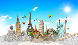Famous landmarks of the world grouped together. Famous landmarks of the world with hand-drawn effect Royalty Free Stock Image
