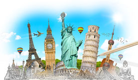 Famous landmarks of the world grouped together Stock Photos