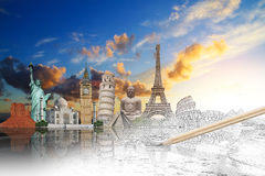 Famous landmarks of the world grouped together Stock Image