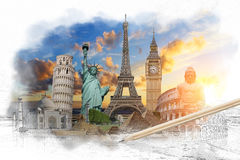 Famous landmarks of the world grouped together Royalty Free Stock Photos