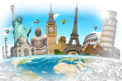 Famous landmarks of the world grouped together Royalty Free Stock Photography