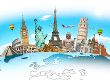 Famous landmarks of the world grouped together Royalty Free Stock Photo