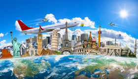 Famous landmarks of the world grouped together on planet Earth. Famous landmarks of the world surrounding planet Earth Stock Image