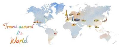 Famous landmarks of the world map. stock illustration