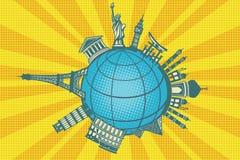 Famous landmarks of the world. Round planet travel. Pop art retro vector illustration Stock Photo