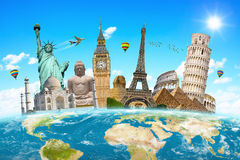 Famous landmarks of the world surrounding planet Earth Royalty Free Stock Photo