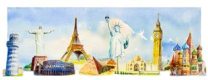Famous landmarks of the world vector illustration