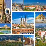 Famous landmarks of Zagreb collage Royalty Free Stock Photos