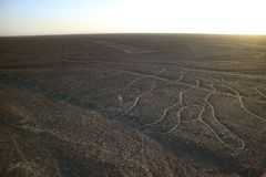 The famous large ancient geoglyphs Nazca lines called Arbol tree in evening sunlight, view from observation tower at Nazca, Peru stock images