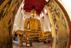 The famous large sitting Buddha in Thai Temple. Royalty Free Stock Photo