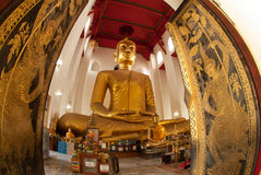 The famous large sitting Buddha in Thai Temple. Stock Image