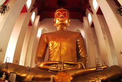 The famous large sitting Buddha in Thai Temple. Royalty Free Stock Image