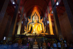 The famous large sitting Buddha in Thai Temple. Royalty Free Stock Images