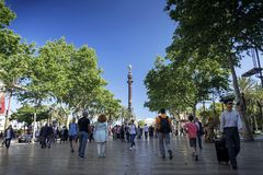 Famous las ramblas pedestrian avenue landmark in downtown barcel. Famous las ramblas pedestrian avenue and colon columbus monument landmark in downtown barcelona Stock Photography