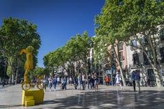 Famous las ramblas pedestrian avenue landmark in downtown barcel Stock Photos